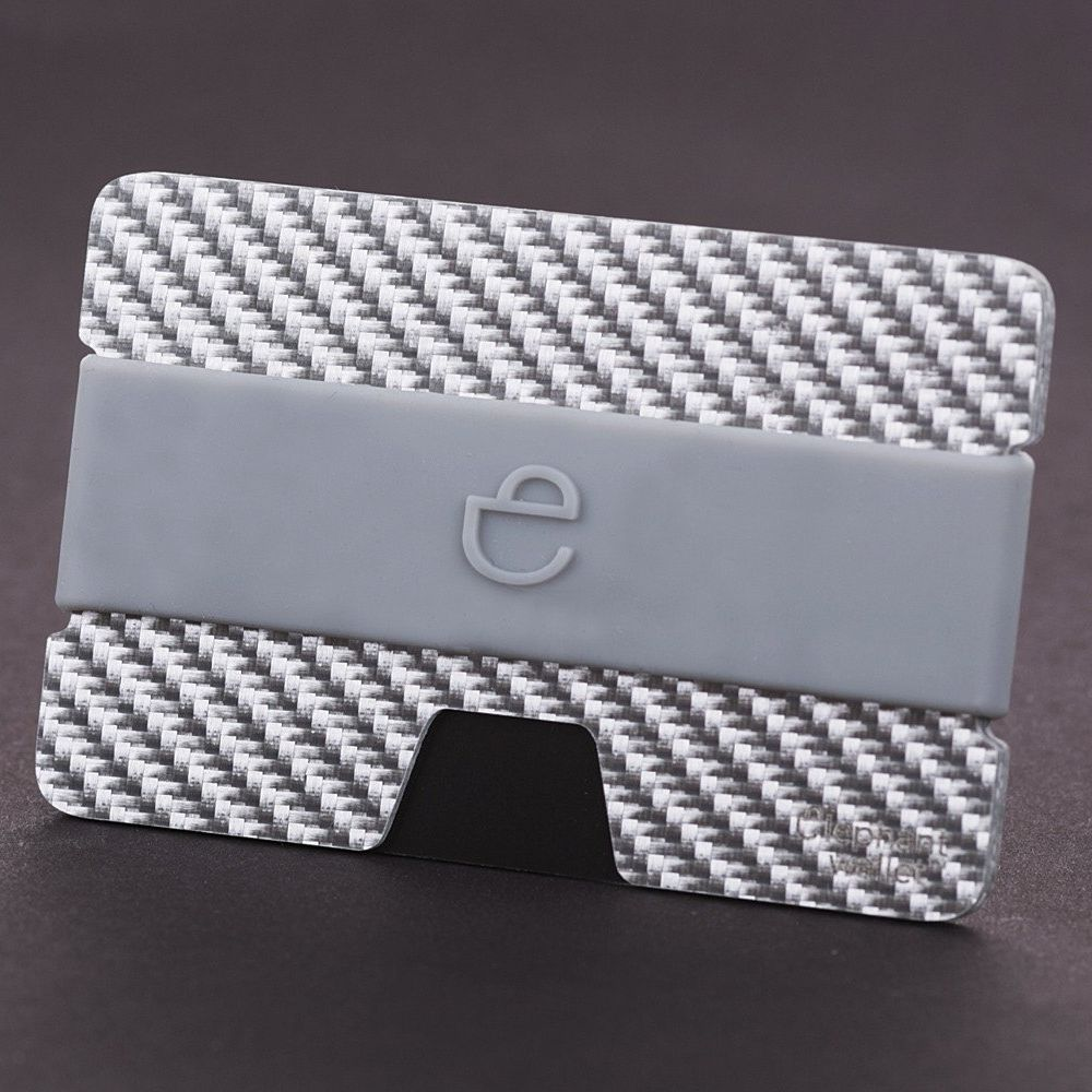 elephant Minimalist Carbon Fiber Wallet with Silicone Strap - Carbon/Grey