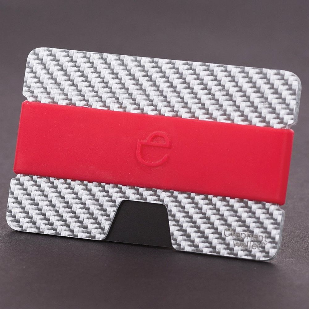 Minimalist Carbon Fiber Wallet with Silicone Strap - Carbon/Red
