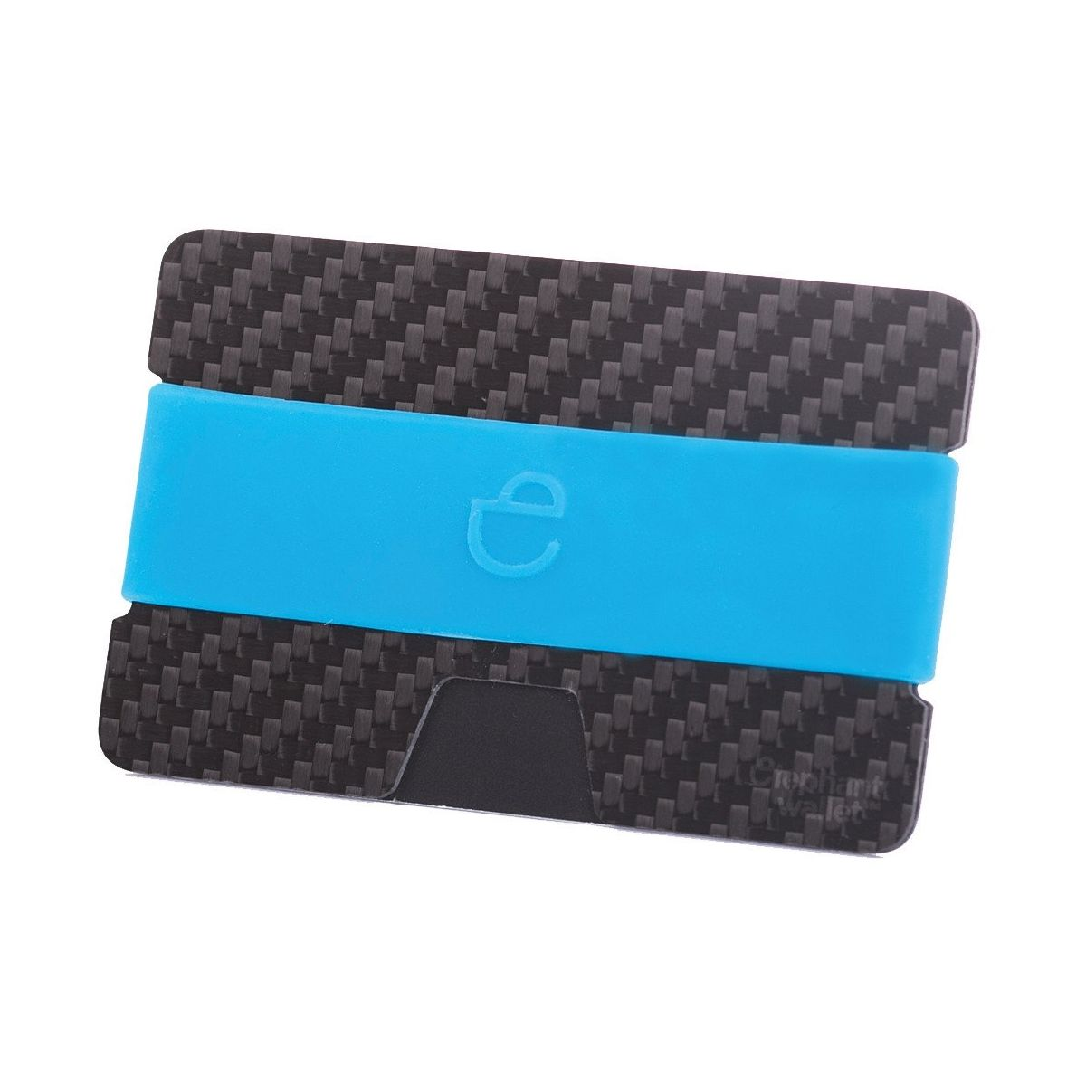 Minimalist Carbon Fiber Wallet with Silicone Strap - Carbon/Azur