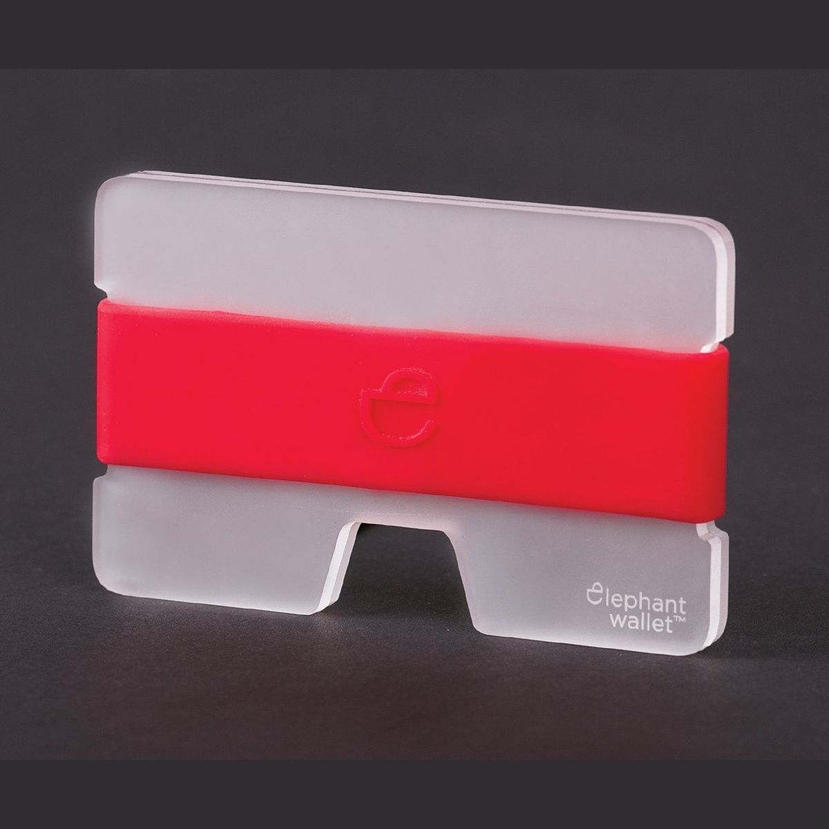 elephant Minimalist Plexi Wallet - Clear/Red