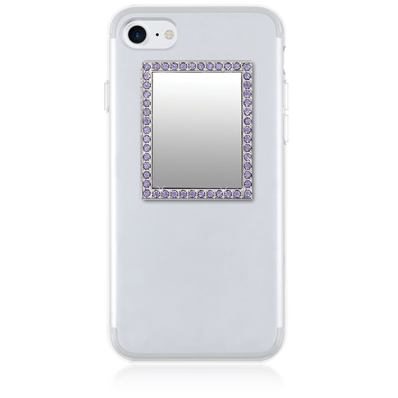 iDecoz Unbreakable Rectangle Phone Mirror - Silver with Purple Crystals