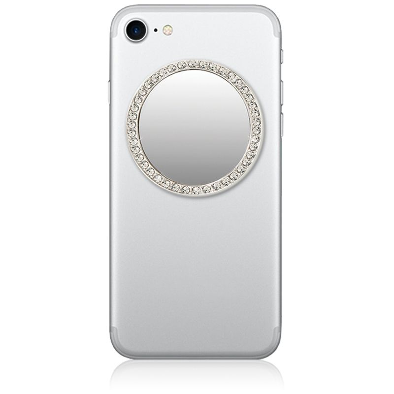 iDecoz Unbreakable Circle Phone Mirror - Silver with Crystals