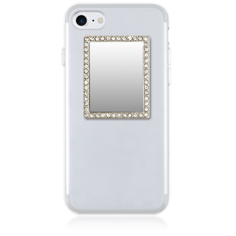 iDecoz Unbreakable Rectangle Phone Mirror - Silver with Crystals