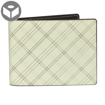J.FOLD Leather Wallet with Coin Pouch Plaid - Ivory