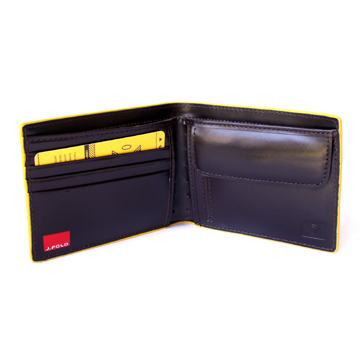J.FOLD Leather Wallet with Coin Pouch Emboss - Dark Brown