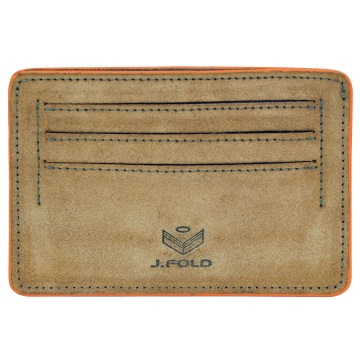 Flat Carrier Leather Wallet - Brown/Orange
