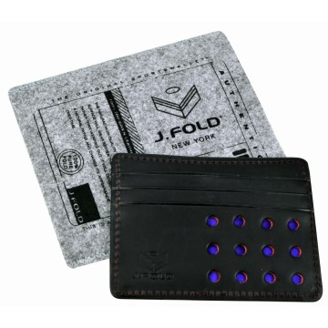 Flat Carrier Leather Wallet - Black