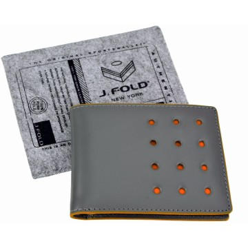 J.FOLD V-Twelve Leather Wallet with Coin Pouch - Grey