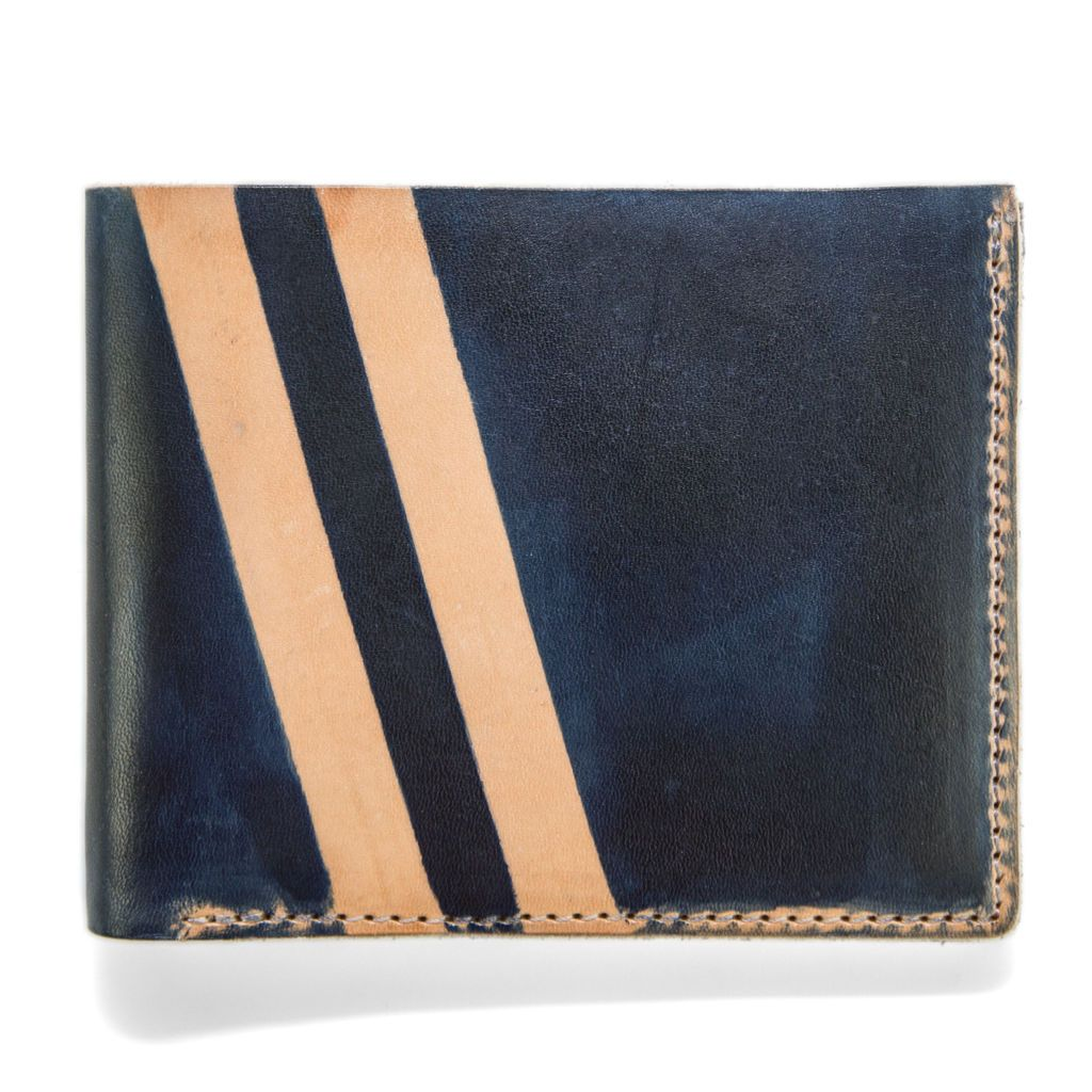 Roadster Screen Strip Leather Wallet - Navy