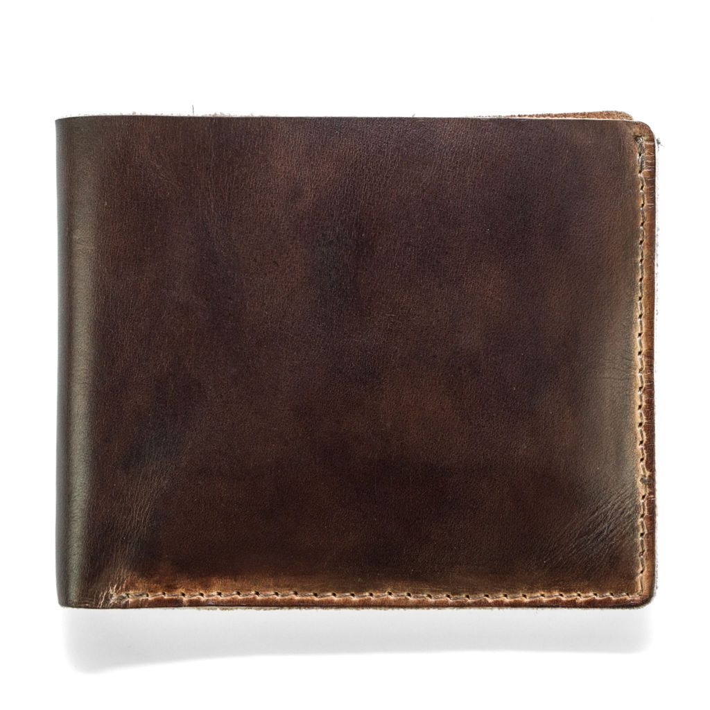 Hand Stained Leather Wallet - Brown