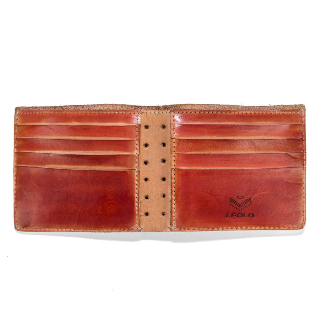 J.FOLD Hand Stained Leather Wallet - Dark Red