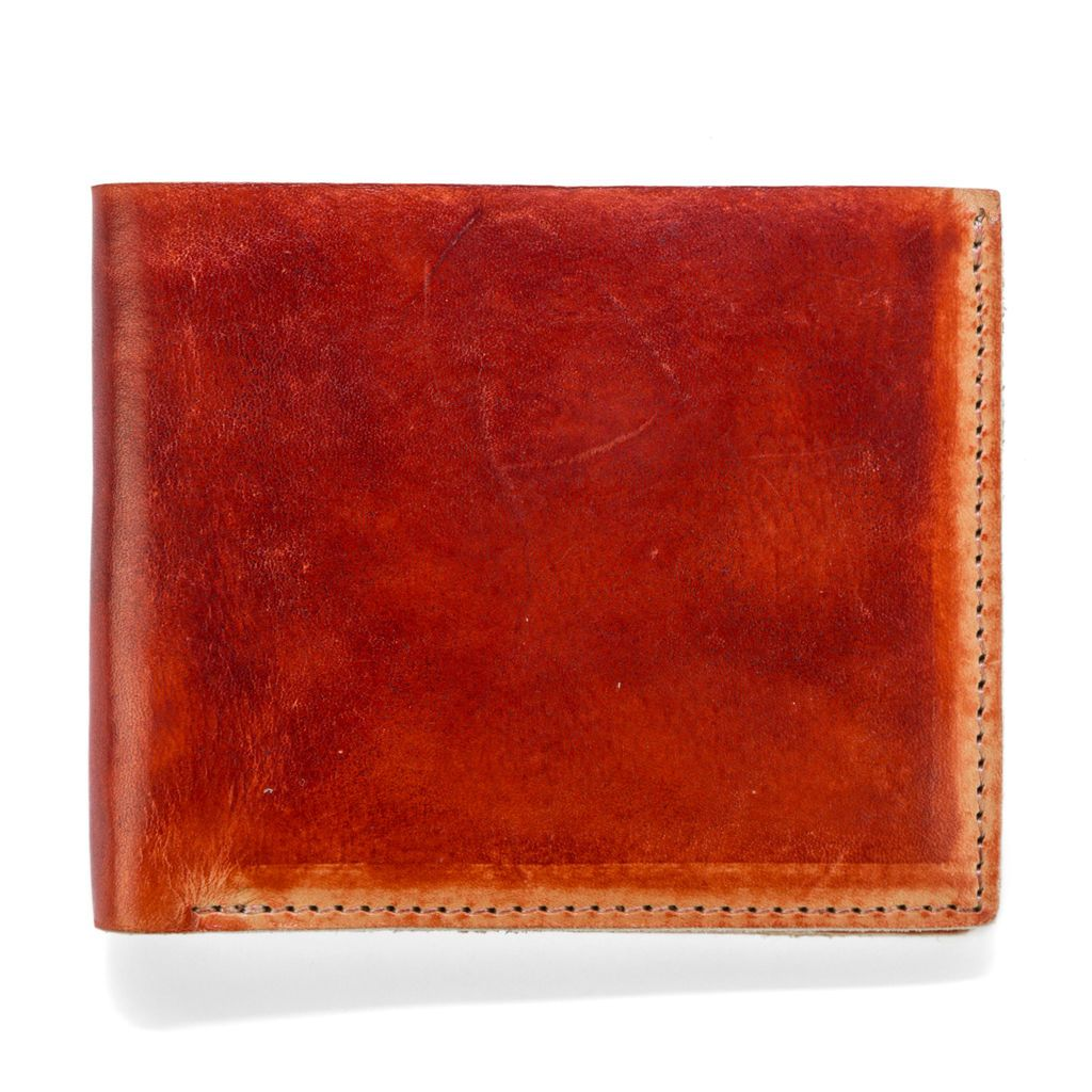 Hand Stained Leather Wallet - Dark Red