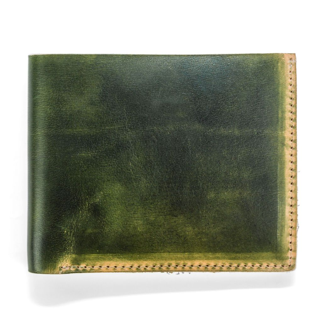 Hand Stained Leather Wallet - Dark Green