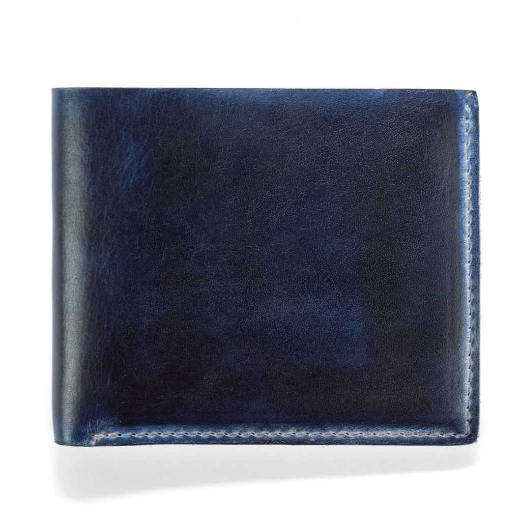 Hand Stained Leather Wallet - Navy