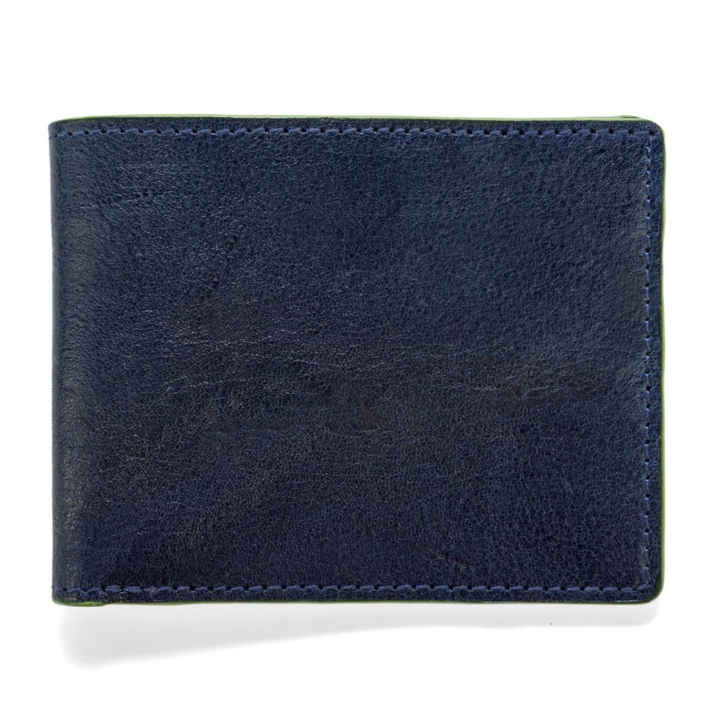 Leather Wallet Havana - Navy