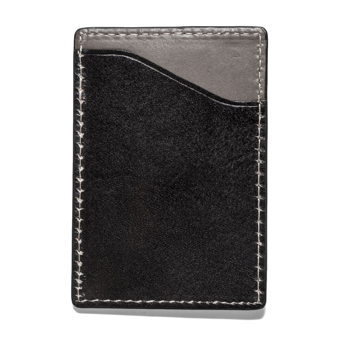 FLAT STASH Leather Wallet - Black