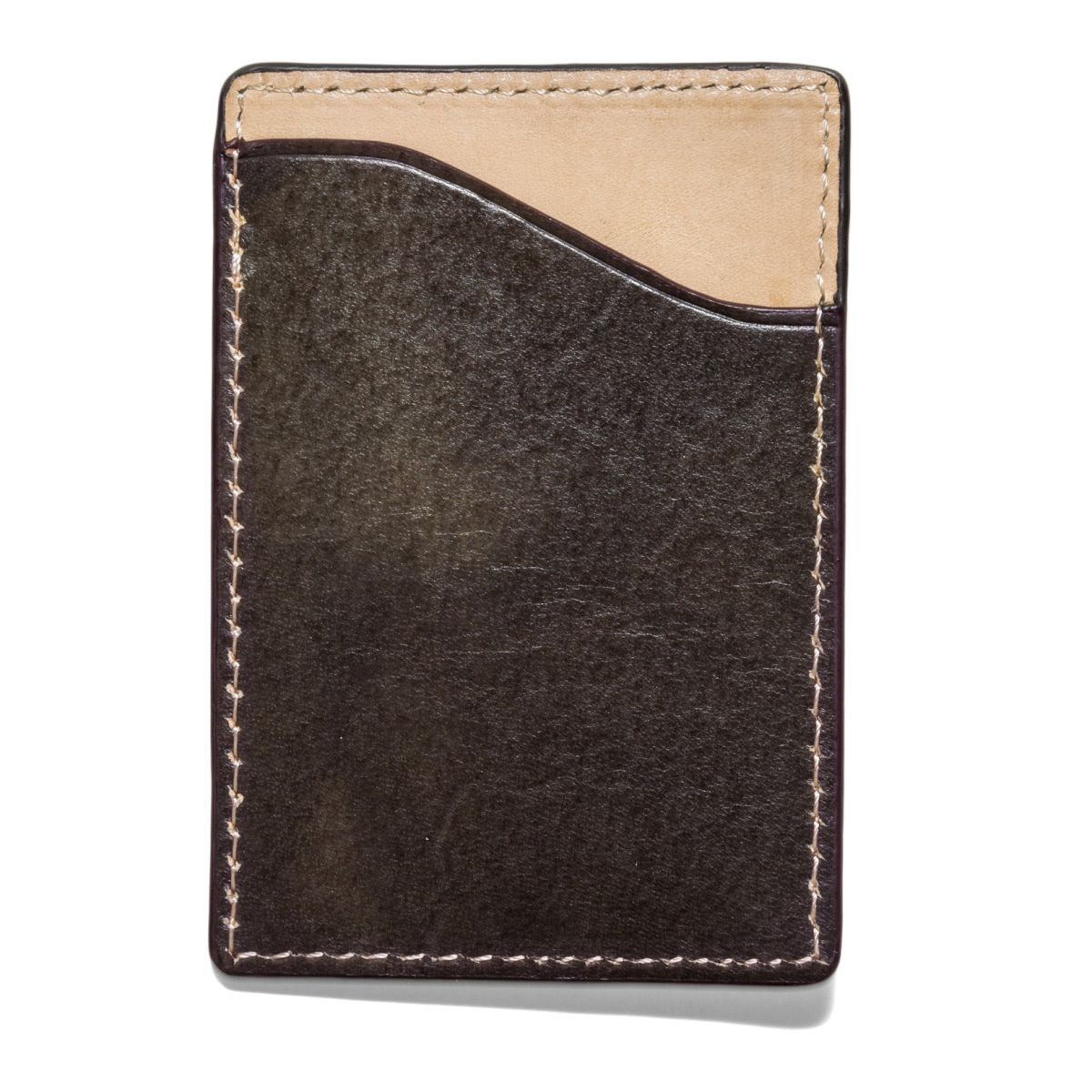 FLAT STASH Leather Wallet - Olive
