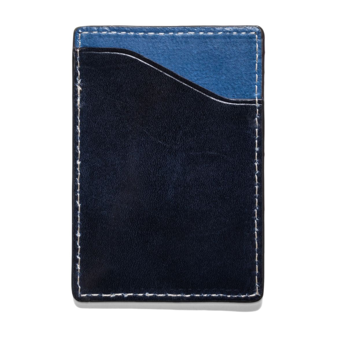 FLAT STASH Leather Wallet - Dark Navy