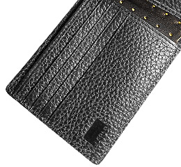 J.FOLD Leather Wallet with Coin Pouch Reverb - Black