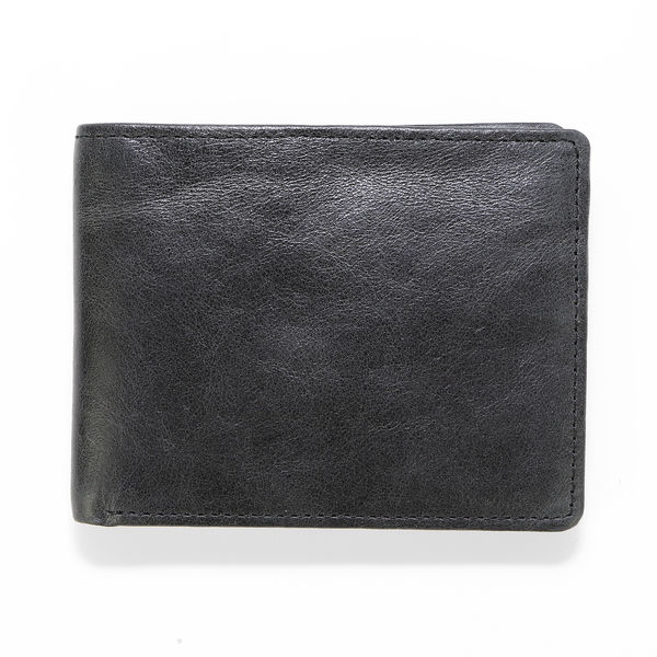 Leather Wallet Havana - Black/Blue