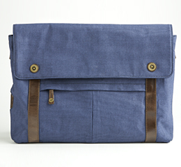 J.FOLD Train Coated Canvas 15  Laptop Messenger - Navy