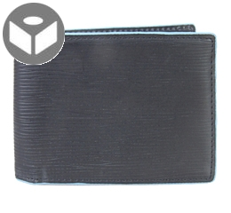 J.FOLD Heavy Grain Leather Wallet with Coin Pouch - Black / Blue Trim