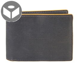 J.FOLD Heavy Grain Leather Wallet with Coin Pouch - Dark Brown/ Orange Trim