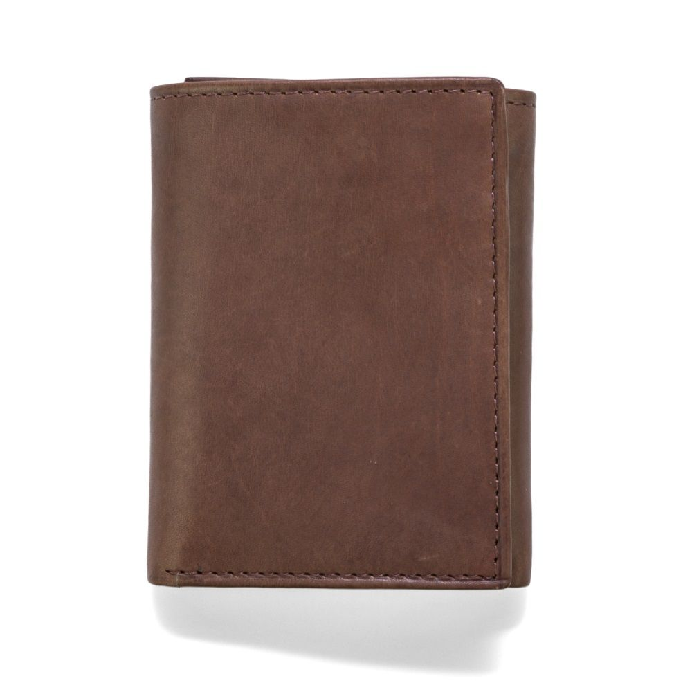 MUNDI Men's Crunch Leather Trifold Wallet - Brown