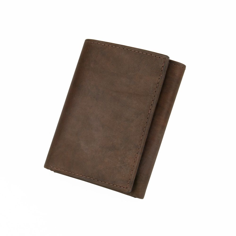 MUNDI Men's Antique Leather Trifold Wallet - Brown
