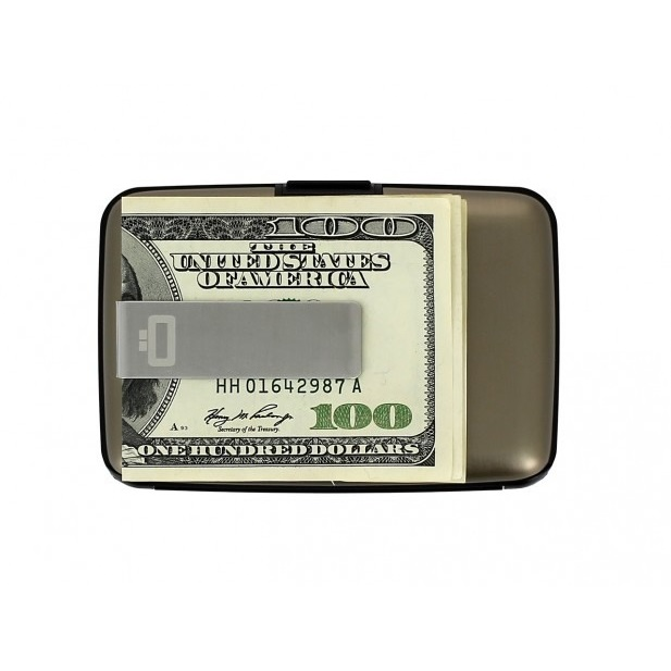 OGON Aluminum Wallet with Money Clip - Dark Grey