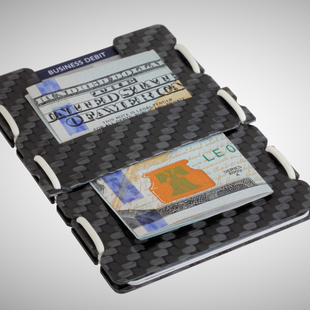 slimTECH Carbon Fiber Wallet With Money Clip and Strap - Carbon Stain/White