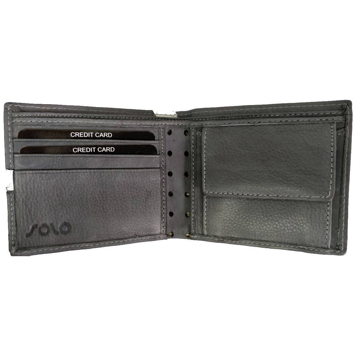 solo Leather Wallet With Broken Strip and Coin Pouch - Grey