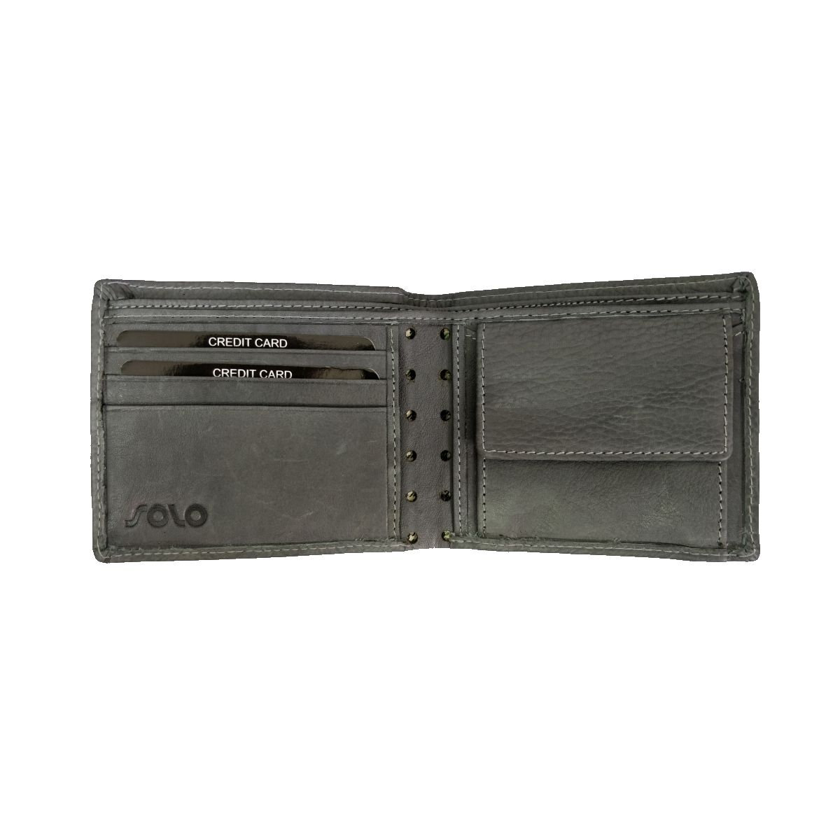 solo Leather Wallet With Laser Cut and Coin Pouch - Grey