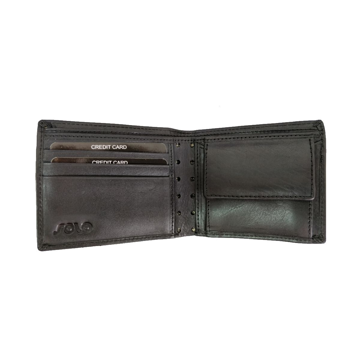 solo Leather Wallet With Laser Cut and Coin Pouch - Black