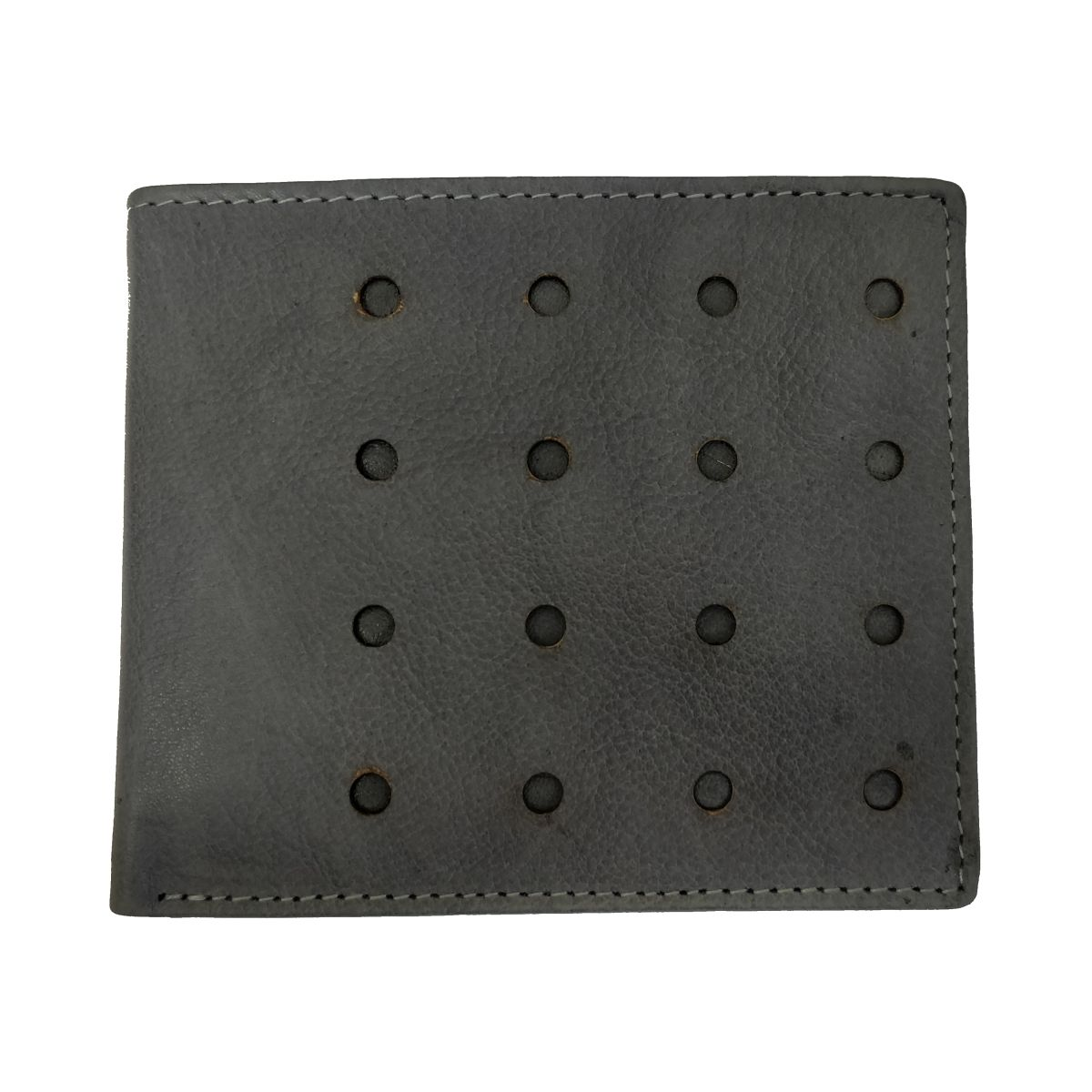 Leather Wallet Sixteen Holes With Coin Pouch - Grey
