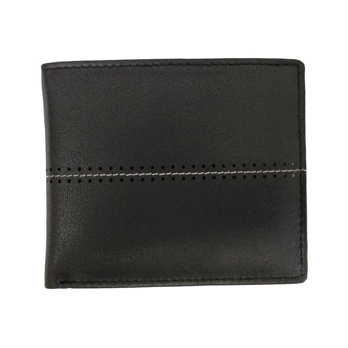 solo Leather Wallet With Horizontal Stitch and Coin Pouch - Black