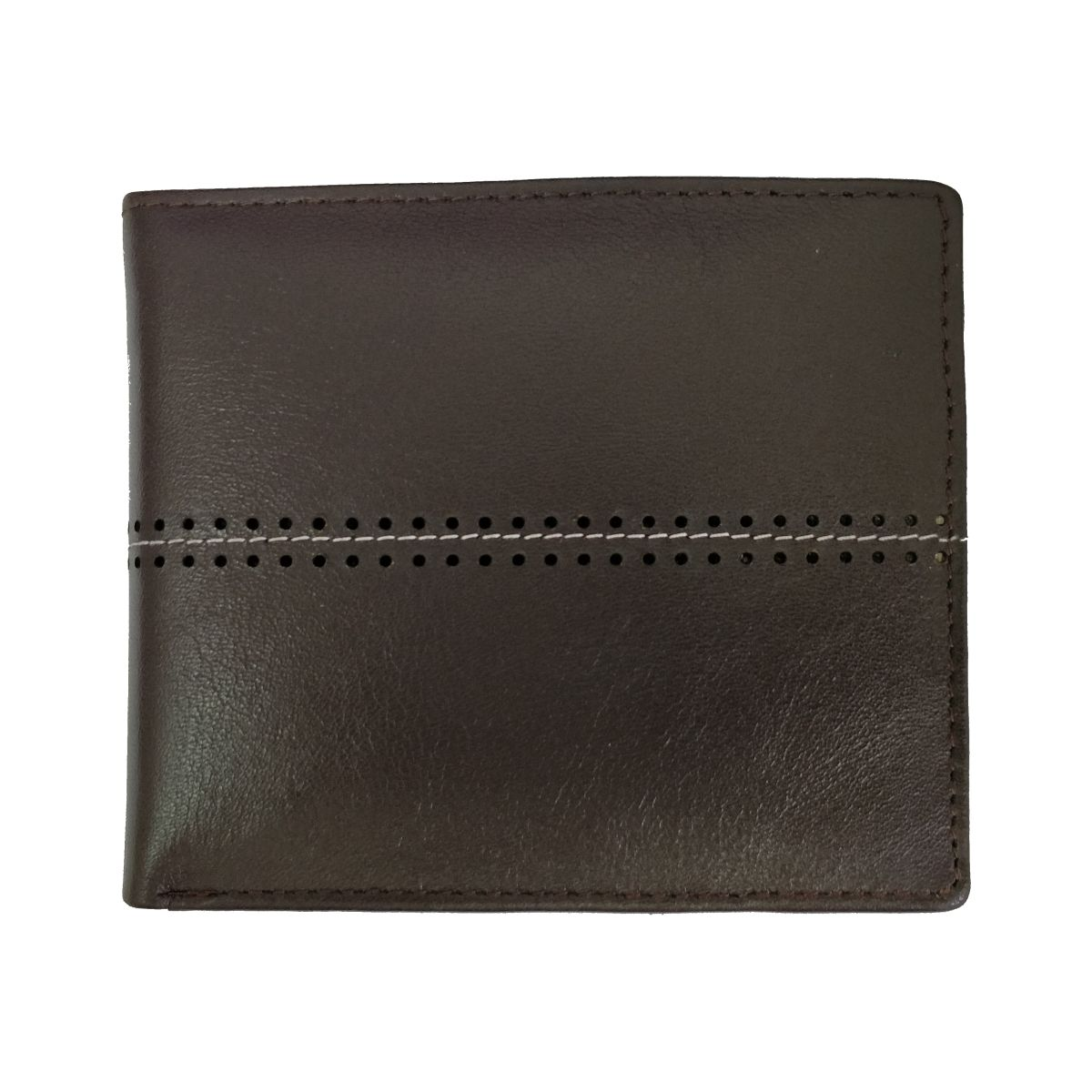 solo Leather Wallet With Horizontal Stitch and Coin Pouch - Dark Brown