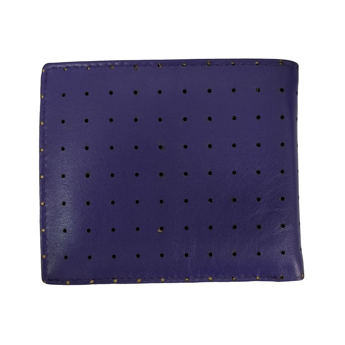 solo Leather Wallet Perforated With Coin Pouch - Blue