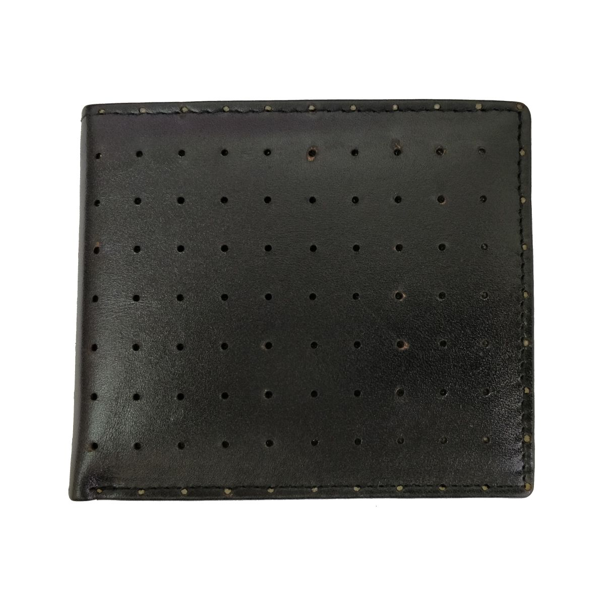 Leather Wallet Perforated With Coin Pouch - Black
