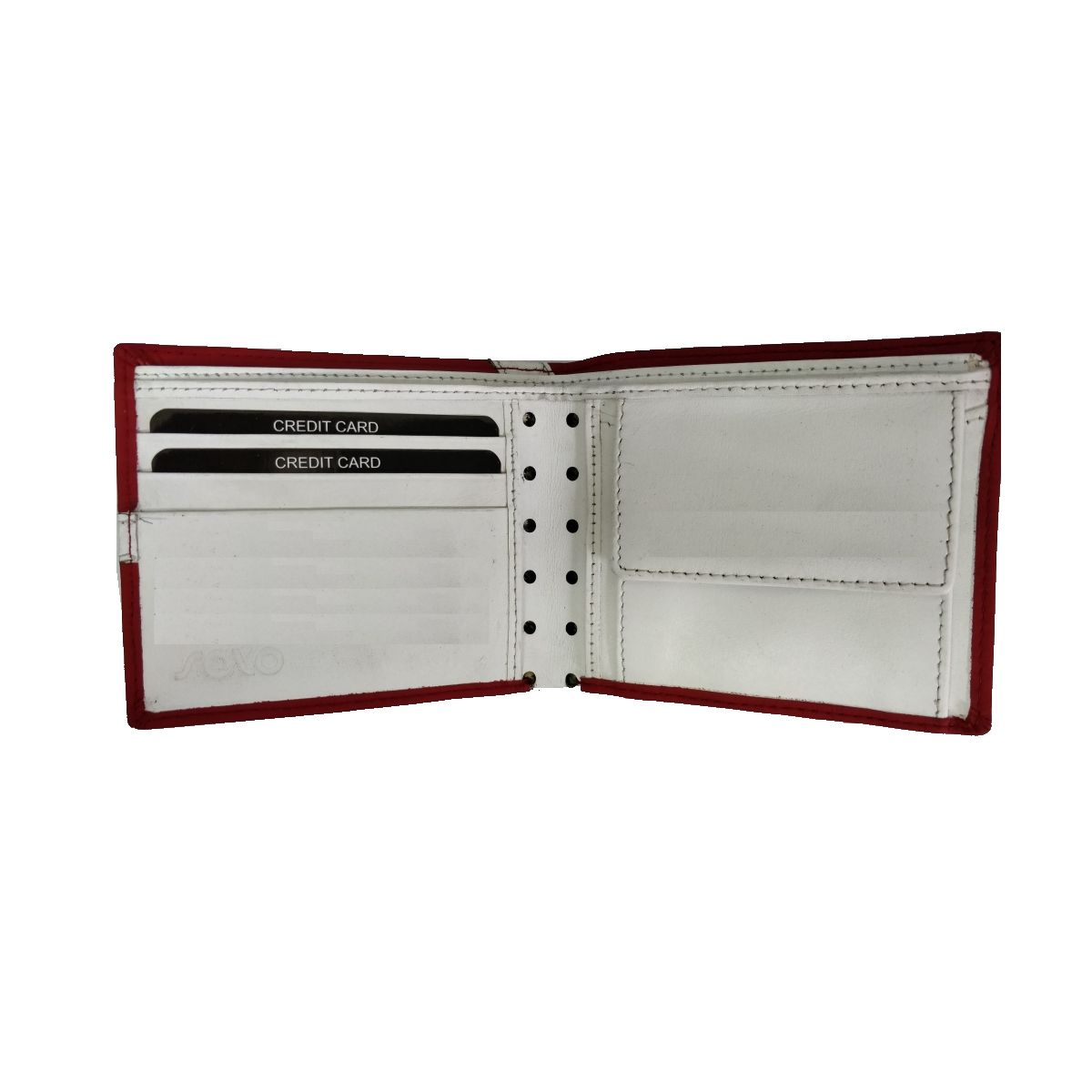 solo Leather Wallet With Broken Strip and Coin Pouch - Red/White