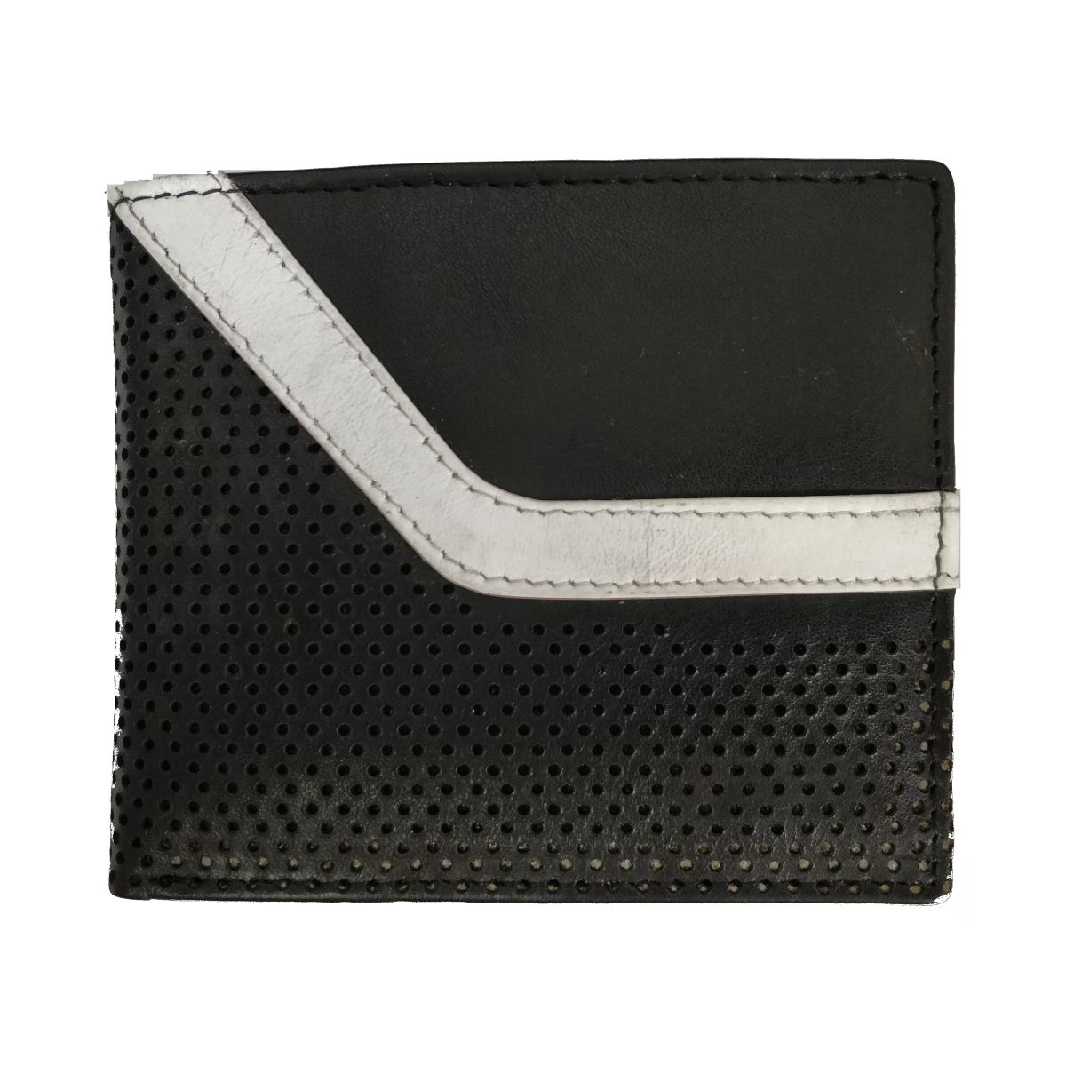 Leather Wallet With Broken Strip and Coin Pouch - Black/Blue