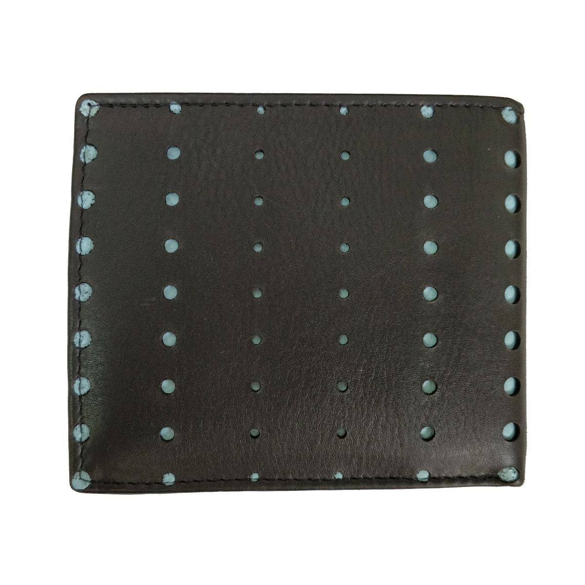 solo Leather Wallet With Round Laser Cut and Coin Pouch - Black