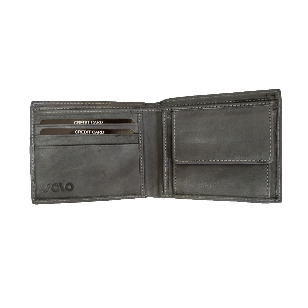 solo Leather Wallet With Round Laser Cut and Coin Pouch - Grey