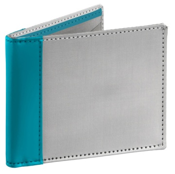Stainless Steel Wallet - Silver/Light Blue