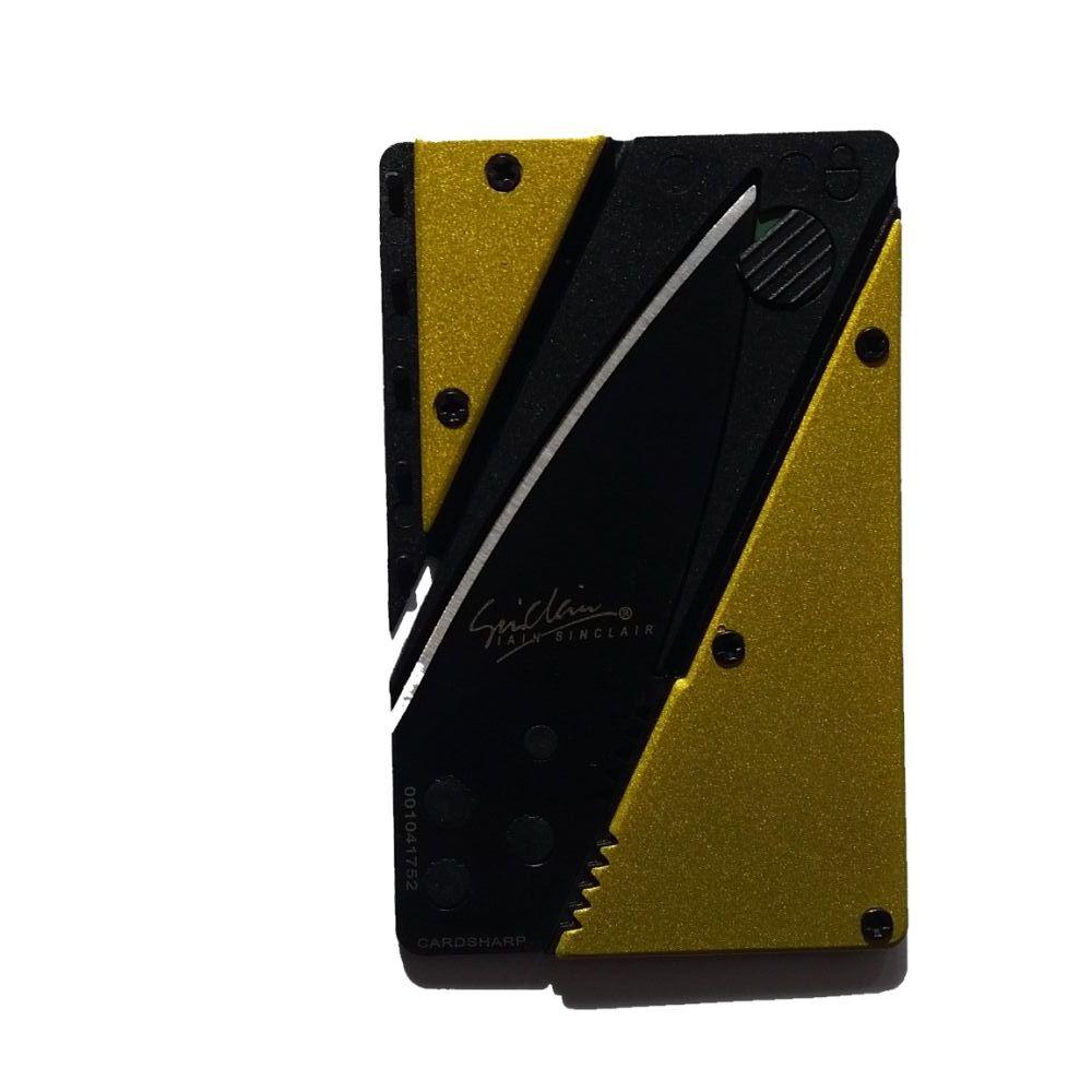 WALLET סכין מתקפל לכרטיס עם ידית אלומיניום - צהוב
