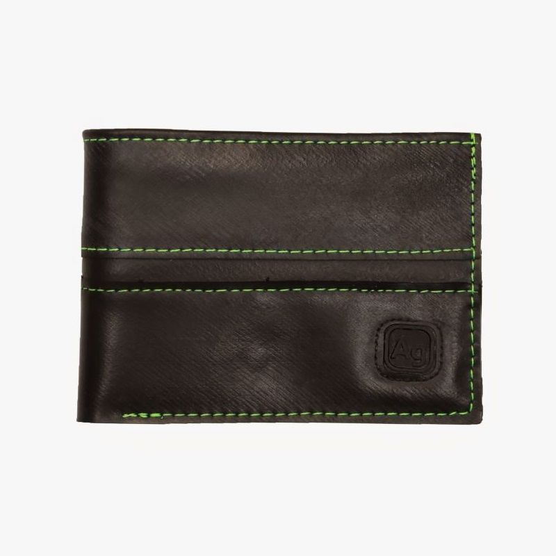 Recycled Franklin Wallet - Black/Floro Green