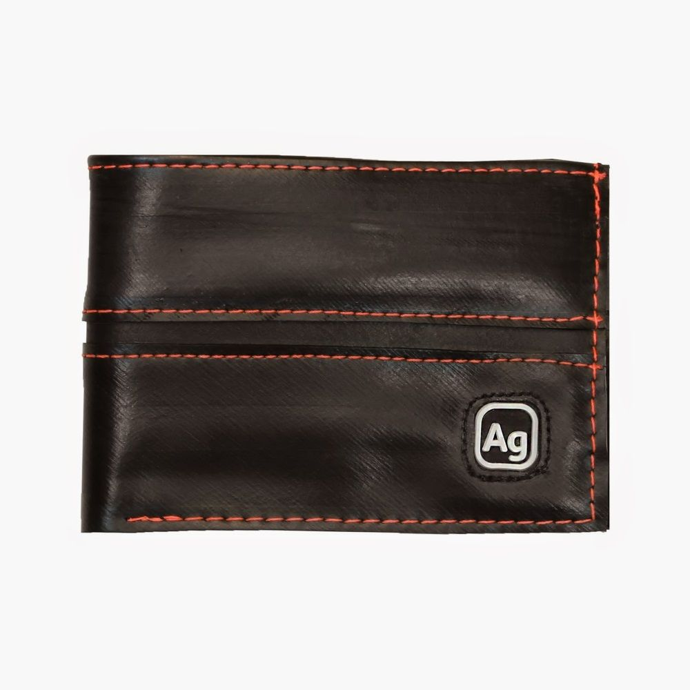 Recycled Franklin Wallet - Black/Orange