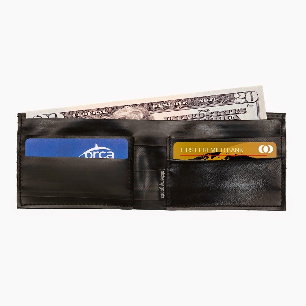 Alchemy Goods Recycled Franklin Wallet - Black/Silver