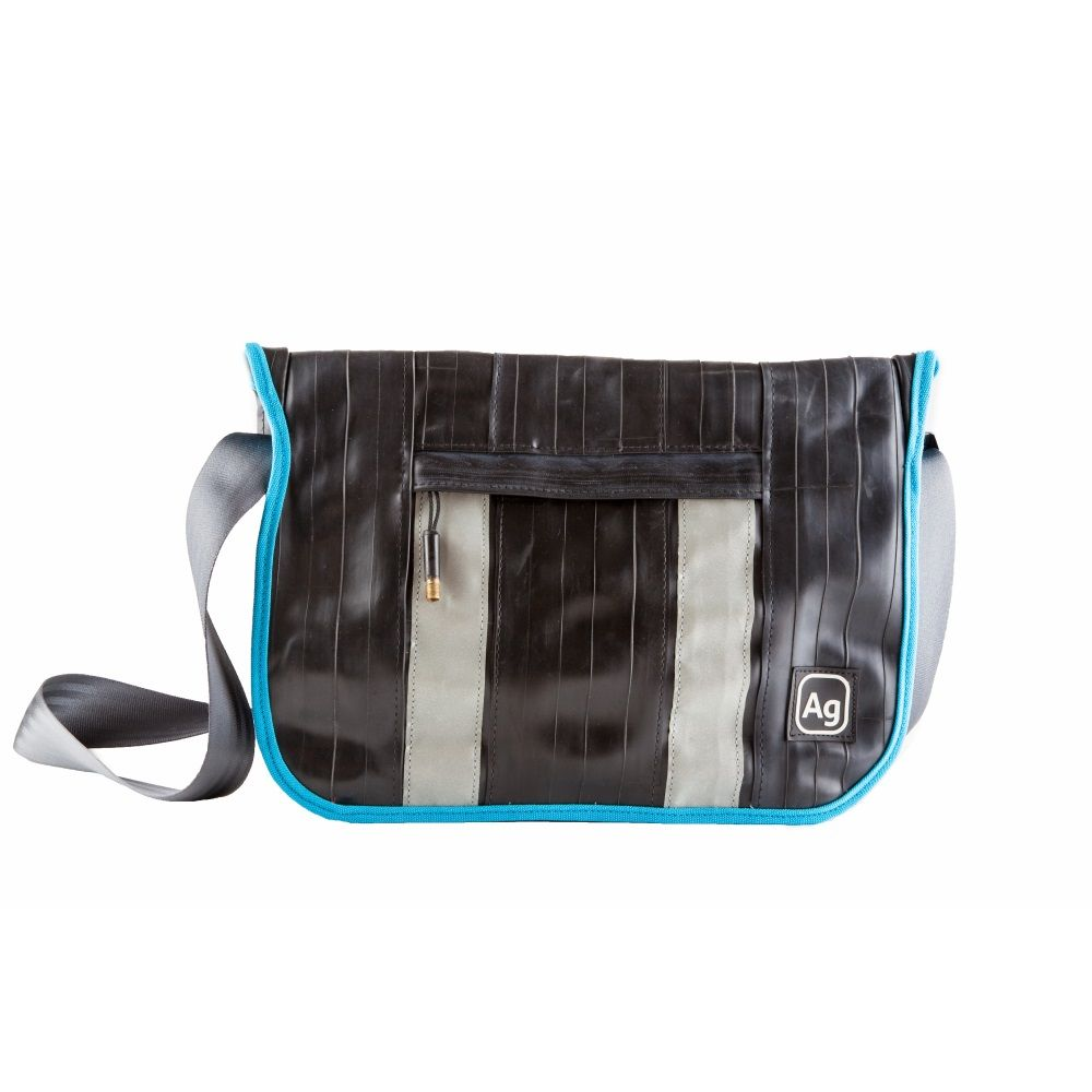 Recycled Pine Messenger Bag - Black/Turquoise