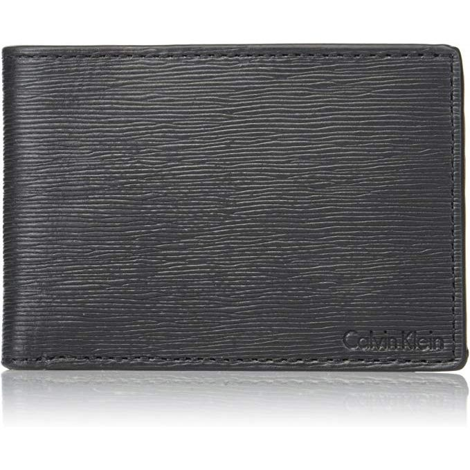 WALLET Calvin Klein Mens Textured Slimfold - Black